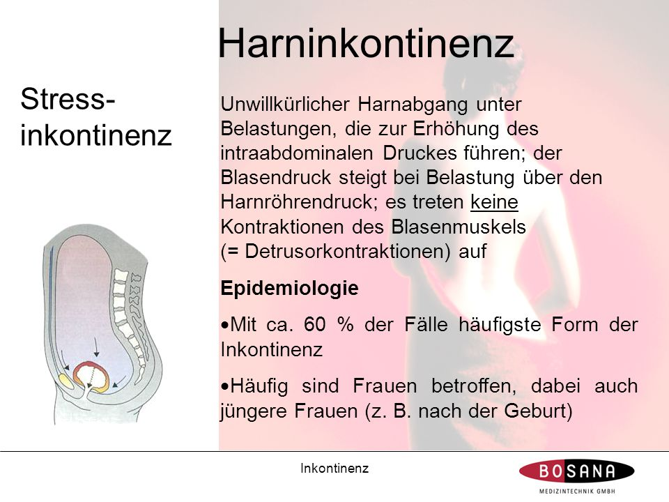 Inkontinenz Harninkontinenz Stress- inkontinenz Unwillkürlicher Harnabgang unter Belastungen, die zur Erhöhung des intraabdominalen Druckes führen; de