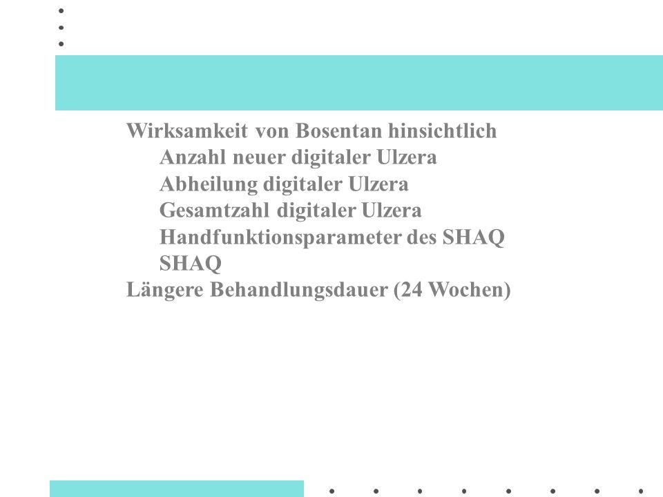 Wirksamkeit von Bosentan hinsichtlich Anzahl neuer digitaler Ulzera Abheilung digitaler Ulzera Gesamtzahl digitaler Ulzera Handfunktionsparameter des