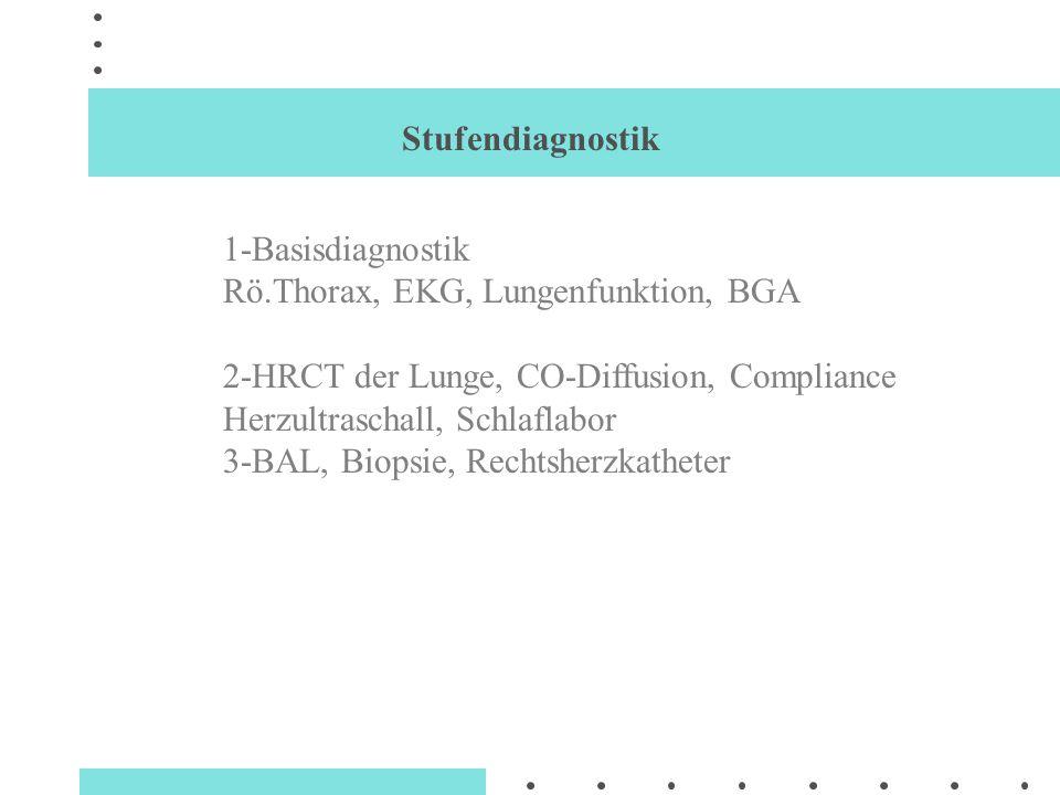 Stufendiagnostik 1-Basisdiagnostik Rö.Thorax, EKG, Lungenfunktion, BGA 2-HRCT der Lunge, CO-Diffusion, Compliance Herzultraschall, Schlaflabor 3-BAL,