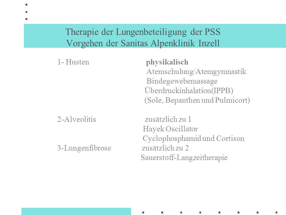 Therapie der Lungenbeteiligung der PSS Vorgehen der Sanitas Alpenklinik Inzell 1- Husten physikalisch Atemschulung/Atemgymnastik Bindegewebemassage Üb