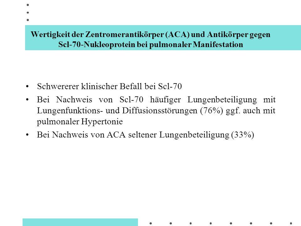 Wertigkeit der Zentromerantikörper (ACA) und Antikörper gegen Scl-70-Nukleoprotein bei pulmonaler Manifestation Schwererer klinischer Befall bei Scl-7