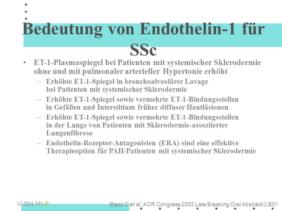 Bedeutung von Endothelin-1 für SSc ET-1-Plasmaspiegel bei Patienten mit systemischer Sklerodermie ohne und mit pulmonaler arterieller Hypertonie erhöh