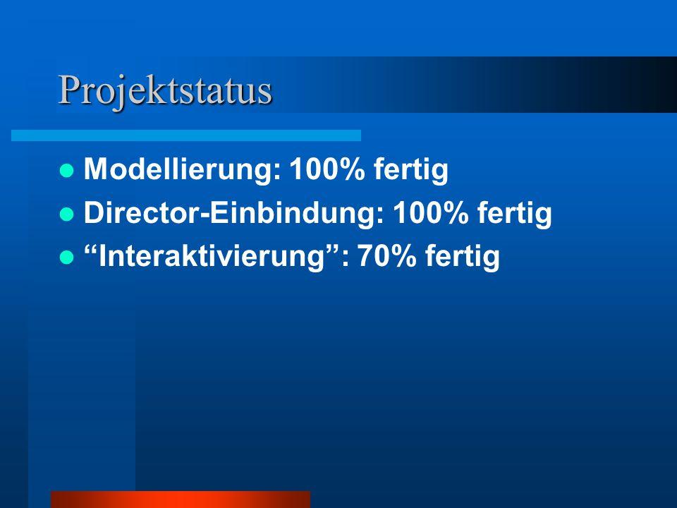 Projektstatus Modellierung: 100% fertig Director-Einbindung: 100% fertig Interaktivierung: 70% fertig