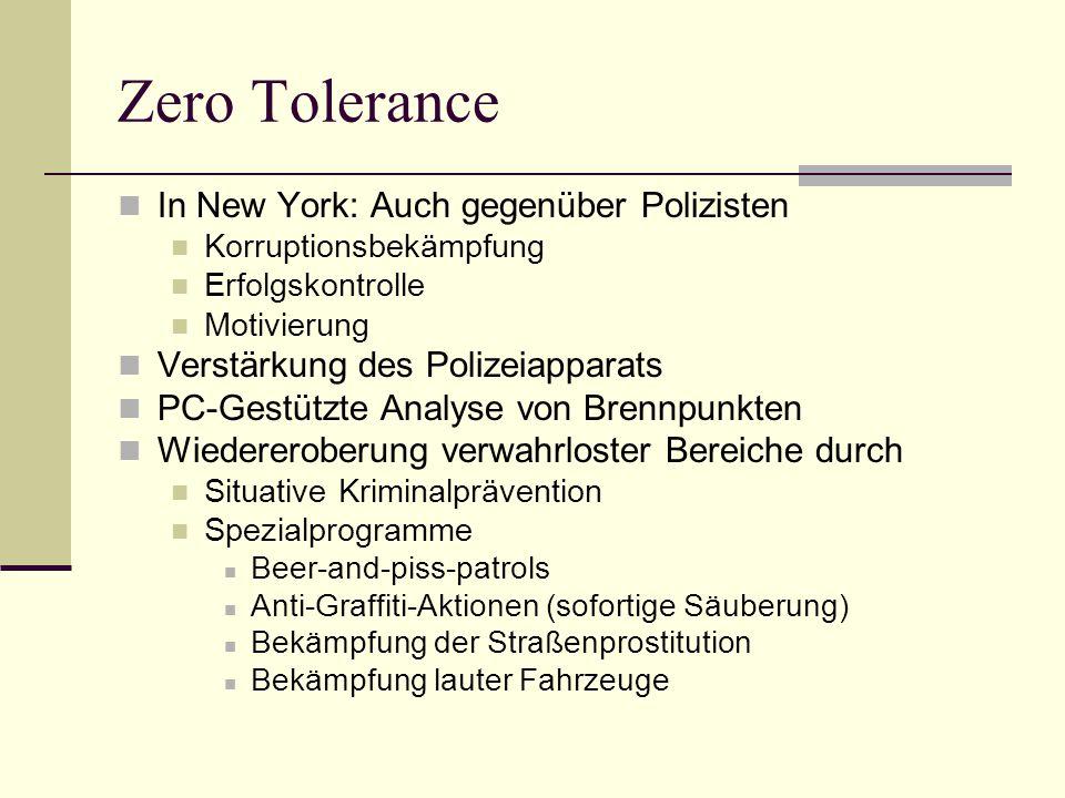 Zero Tolerance In New York: Auch gegenüber Polizisten Korruptionsbekämpfung Erfolgskontrolle Motivierung Verstärkung des Polizeiapparats PC-Gestützte