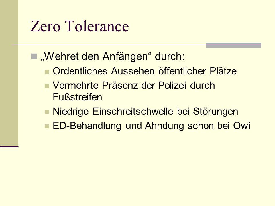 Zero Tolerance Wehret den Anfängen durch: Ordentliches Aussehen öffentlicher Plätze Vermehrte Präsenz der Polizei durch Fußstreifen Niedrige Einschrei