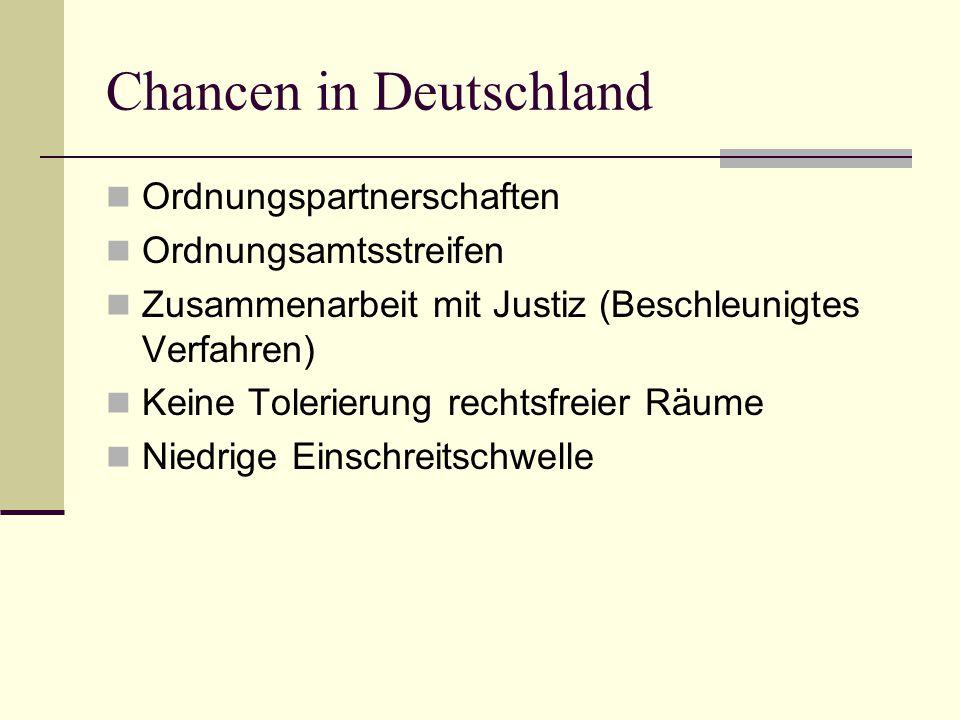 Chancen in Deutschland Ordnungspartnerschaften Ordnungsamtsstreifen Zusammenarbeit mit Justiz (Beschleunigtes Verfahren) Keine Tolerierung rechtsfreie