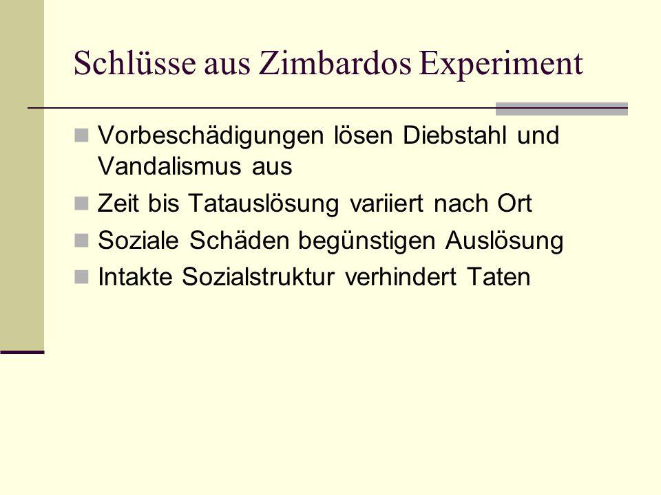 Schlüsse aus Zimbardos Experiment Vorbeschädigungen lösen Diebstahl und Vandalismus aus Zeit bis Tatauslösung variiert nach Ort Soziale Schäden begüns