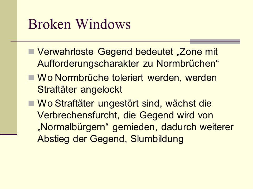 Broken Windows Verwahrloste Gegend bedeutet Zone mit Aufforderungscharakter zu Normbrüchen Wo Normbrüche toleriert werden, werden Straftäter angelockt