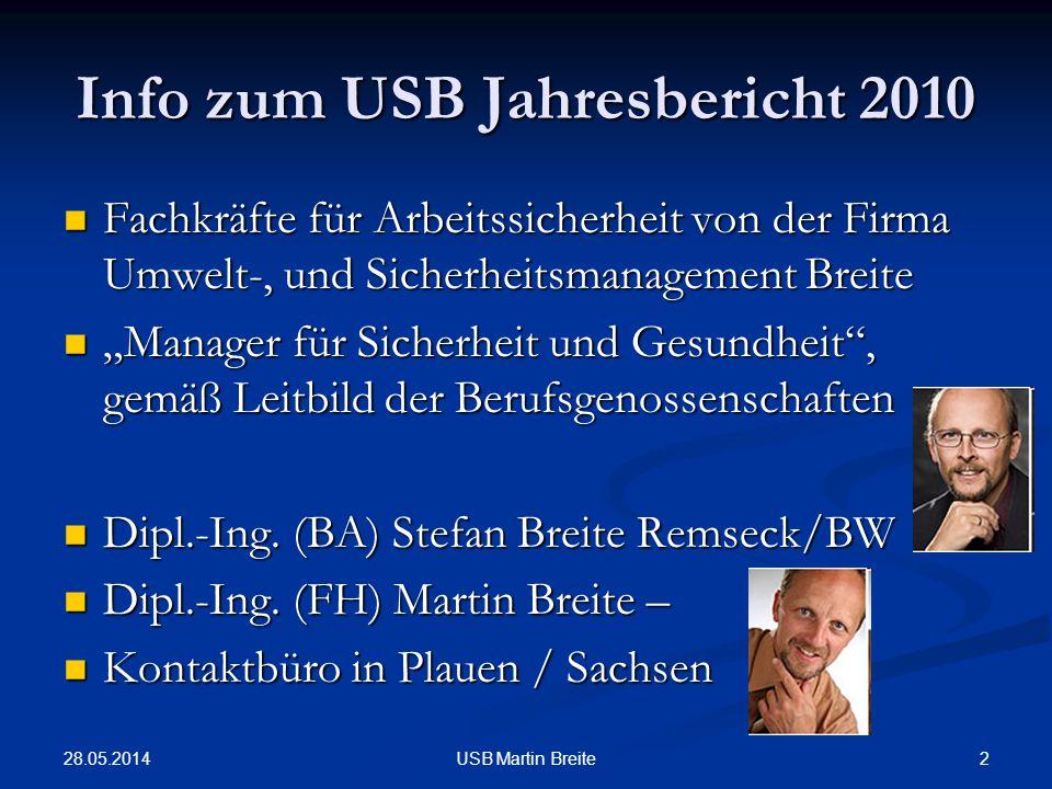 28.05.2014 2USB Martin Breite Info zum USB Jahresbericht 2010 Fachkräfte für Arbeitssicherheit von der Firma Umwelt-, und Sicherheitsmanagement Breite
