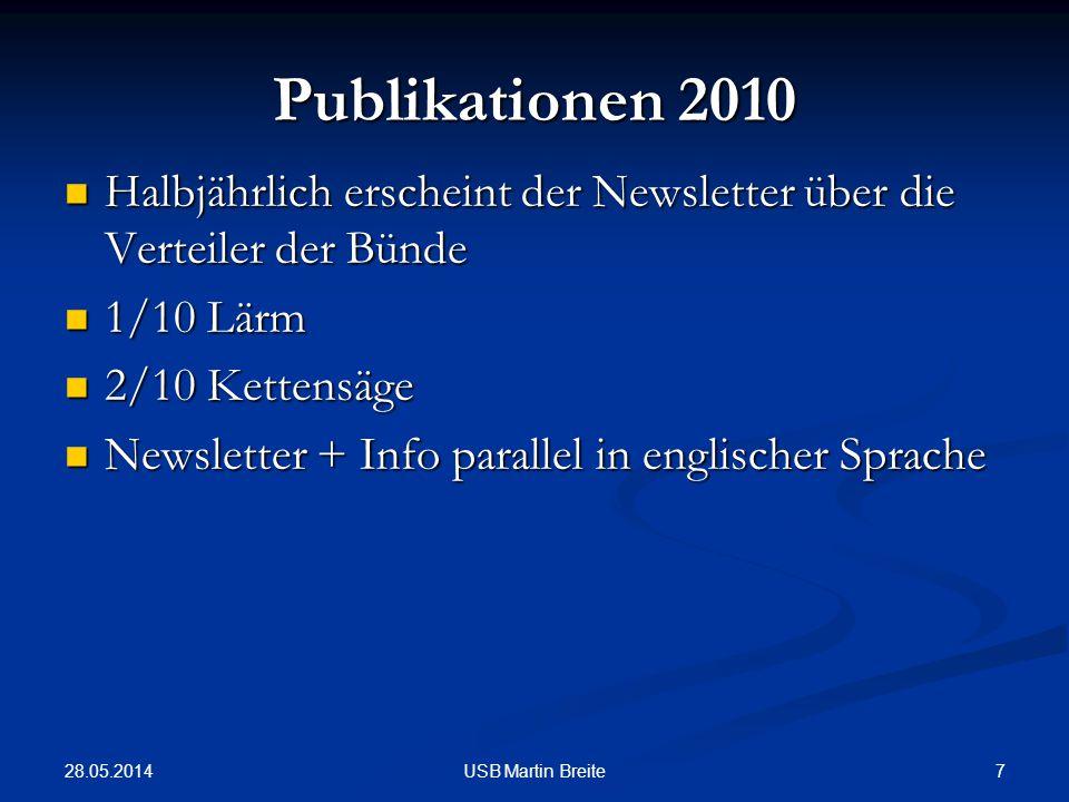 28.05.2014 7USB Martin Breite Publikationen 2010 Halbjährlich erscheint der Newsletter über die Verteiler der Bünde Halbjährlich erscheint der Newslet