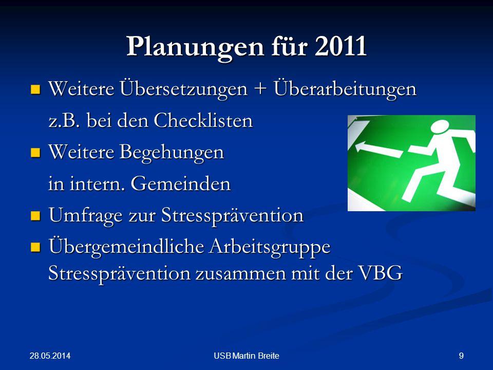 28.05.2014 9USB Martin Breite Planungen für 2011 Weitere Übersetzungen + Überarbeitungen Weitere Übersetzungen + Überarbeitungen z.B. bei den Checklis
