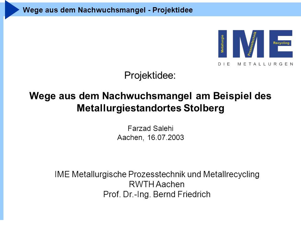 IME Metallurgische Prozesstechnik und Metallrecycling RWTH Aachen Prof. Dr.-Ing. Bernd Friedrich Wege aus dem Nachwuchsmangel - Projektidee Projektide