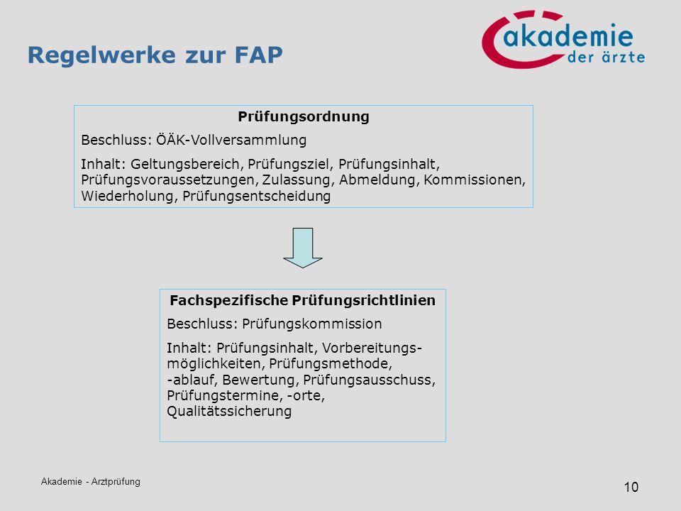Akademie - Arztprüfung 10 Regelwerke zur FAP Prüfungsordnung Beschluss: ÖÄK-Vollversammlung Inhalt: Geltungsbereich, Prüfungsziel, Prüfungsinhalt, Prü