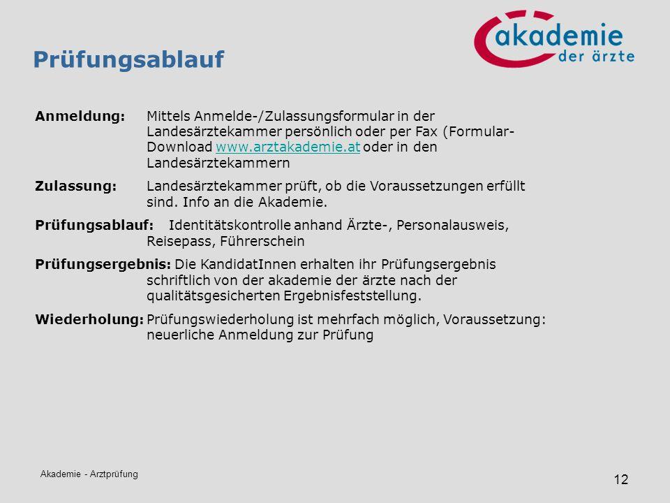 Akademie - Arztprüfung 12 Prüfungsablauf Anmeldung: Mittels Anmelde-/Zulassungsformular in der Landesärztekammer persönlich oder per Fax (Formular- Do