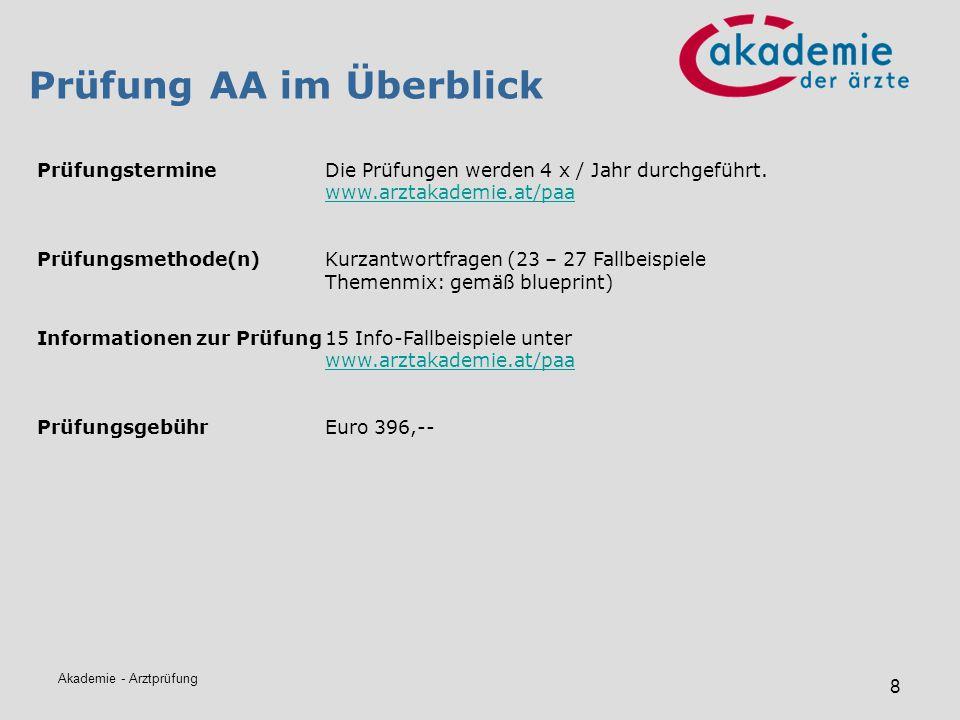 Akademie - Arztprüfung 8 Prüfung AA im Überblick PrüfungstermineDie Prüfungen werden 4 x / Jahr durchgeführt. www.arztakademie.at/paa www.arztakademie