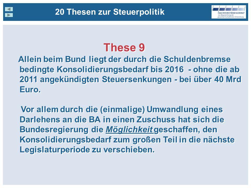 These 9 Allein beim Bund liegt der durch die Schuldenbremse bedingte Konsolidierungsbedarf bis 2016 - ohne die ab 2011 angekündigten Steuersenkungen - bei über 40 Mrd Euro.