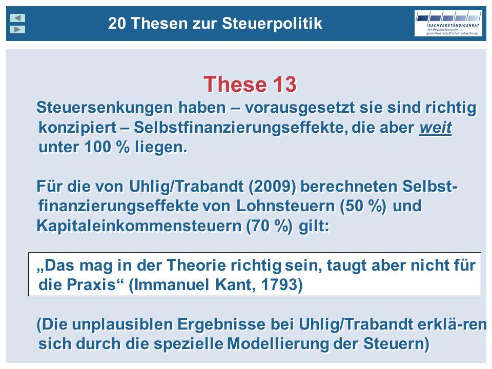 These 13 Steuersenkungen haben – vorausgesetzt sie sind richtig konzipiert – Selbstfinanzierungseffekte, die aber weit unter 100 % liegen.