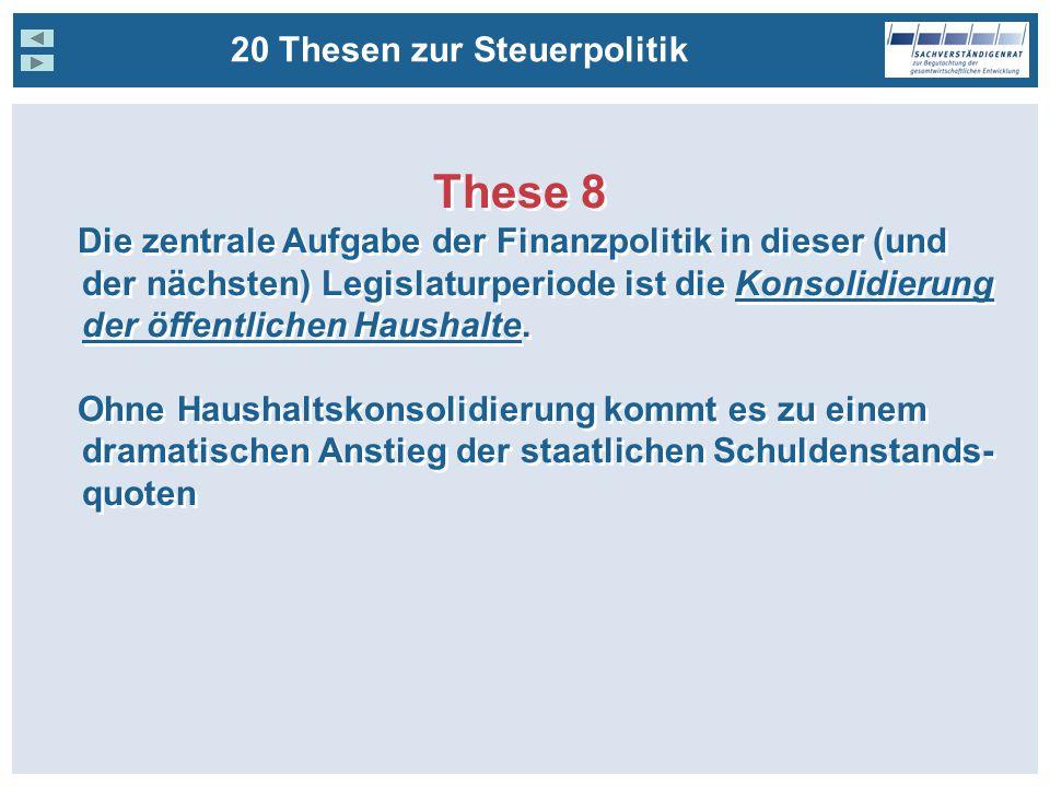 20 Thesen zur Steuerpolitik These 8 Die zentrale Aufgabe der Finanzpolitik in dieser (und der nächsten) Legislaturperiode ist die Konsolidierung der öffentlichen Haushalte.
