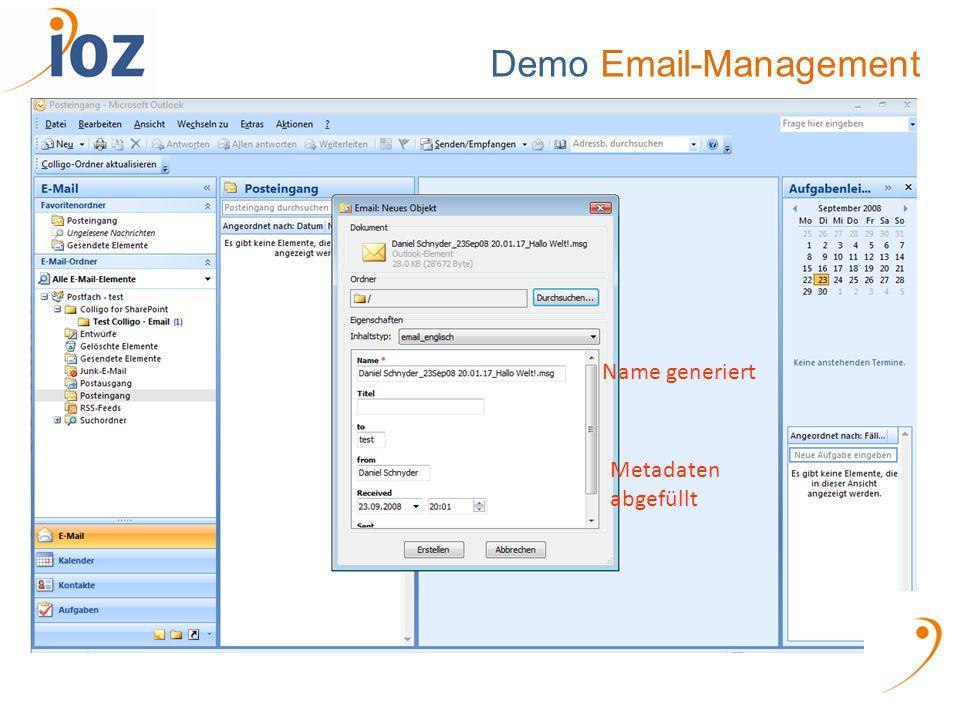 Demo Email-Management Name generiert Metadaten abgefüllt