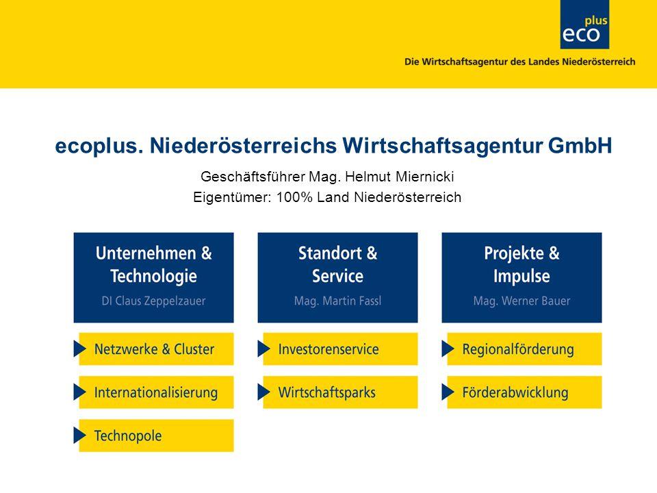 ecoplus Standort & Service In den letzten 10 Jahren konnten in Niederösterreich mit Unterstützung von ecoplus Standort & Service rund 620 Unternehmen einen Standort gründen oder erweitern und damit mehr als 15.800 Arbeitsplätze geschaffen oder gesichert werden