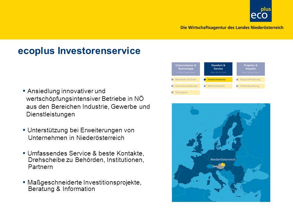 ecoplus Investorenservice Ansiedlung innovativer und wertschöpfungsintensiver Betriebe in NÖ aus den Bereichen Industrie, Gewerbe und Dienstleistungen