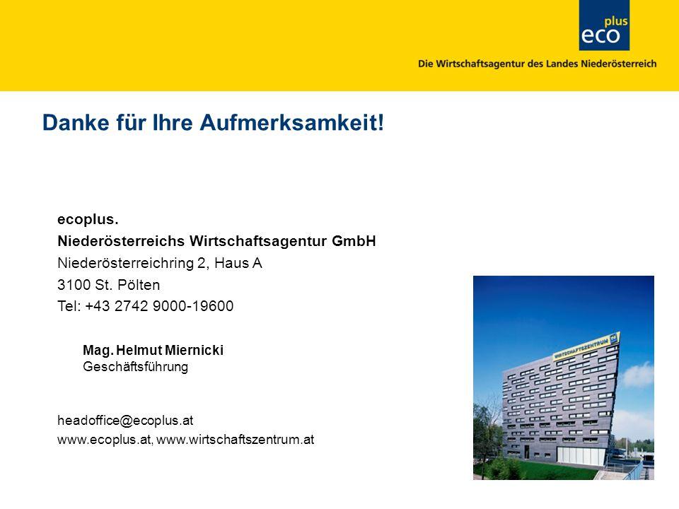 ecoplus. Niederösterreichs Wirtschaftsagentur GmbH Niederösterreichring 2, Haus A 3100 St. Pölten Tel: +43 2742 9000-19600 Mag. Helmut Miernicki Gesch