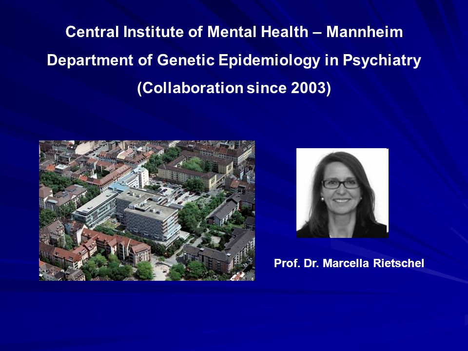Central Institute of Mental Health – Mannheim Department of Genetic Epidemiology in Psychiatry (Collaboration since 2003) Prof. Dr. Marcella Rietschel