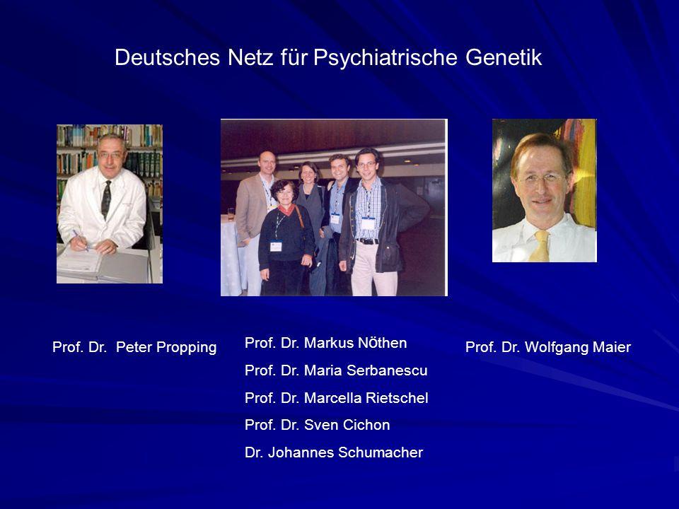Prof. Dr. Peter Propping Deutsches Netz für Psychiatrische Genetik Prof. Dr. Markus N ö then Prof. Dr. Maria Serbanescu Prof. Dr. Marcella Rietschel P