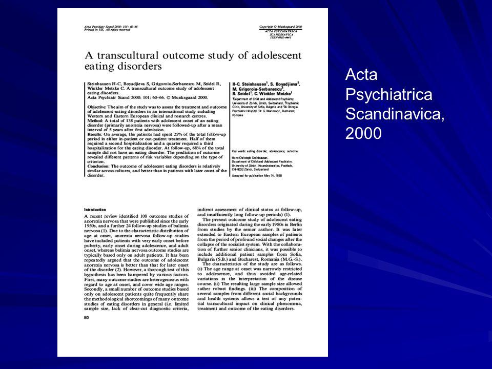 Acta Psychiatrica Scandinavica, 2000