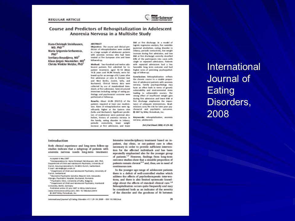 International Journal of Eating Disorders, 2008