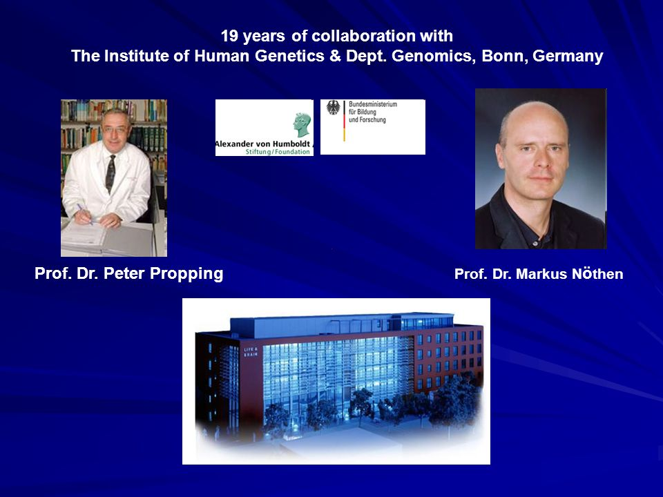 Prof. Dr. Markus N ö then Prof. Dr. Peter Propping 19 years of collaboration with The Institute of Human Genetics & Dept. Genomics, Bonn, Germany