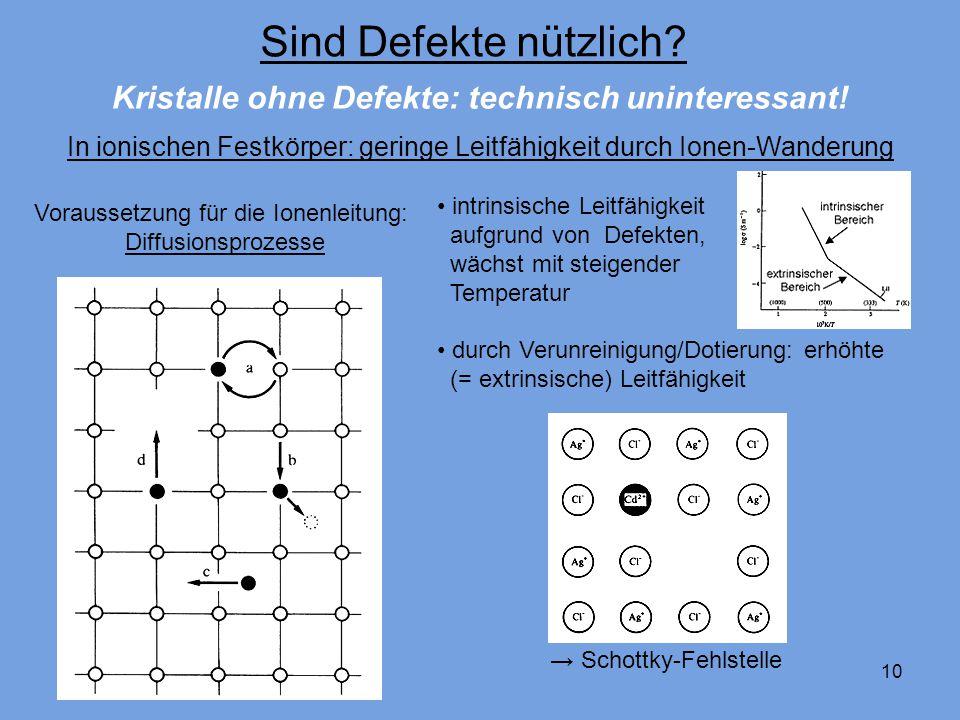 10 Sind Defekte nützlich? Voraussetzung für die Ionenleitung: Diffusionsprozesse Kristalle ohne Defekte: technisch uninteressant! intrinsische Leitfäh