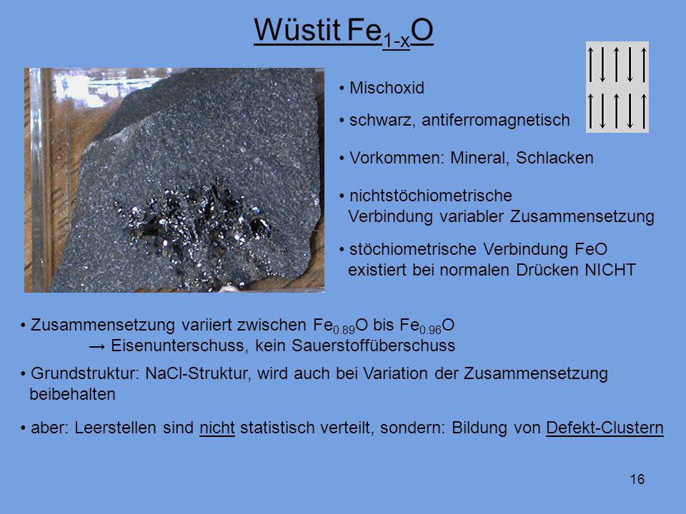 16 Wüstit Fe 1-x O nichtstöchiometrische Verbindung variabler Zusammensetzung schwarz, antiferromagnetisch stöchiometrische Verbindung FeO existiert bei normalen Drücken NICHT Mischoxid Vorkommen: Mineral, Schlacken Zusammensetzung variiert zwischen Fe 0.89 O bis Fe 0.96 O Eisenunterschuss, kein Sauerstoffüberschuss Grundstruktur: NaCl-Struktur, wird auch bei Variation der Zusammensetzung beibehalten aber: Leerstellen sind nicht statistisch verteilt, sondern: Bildung von Defekt-Clustern
