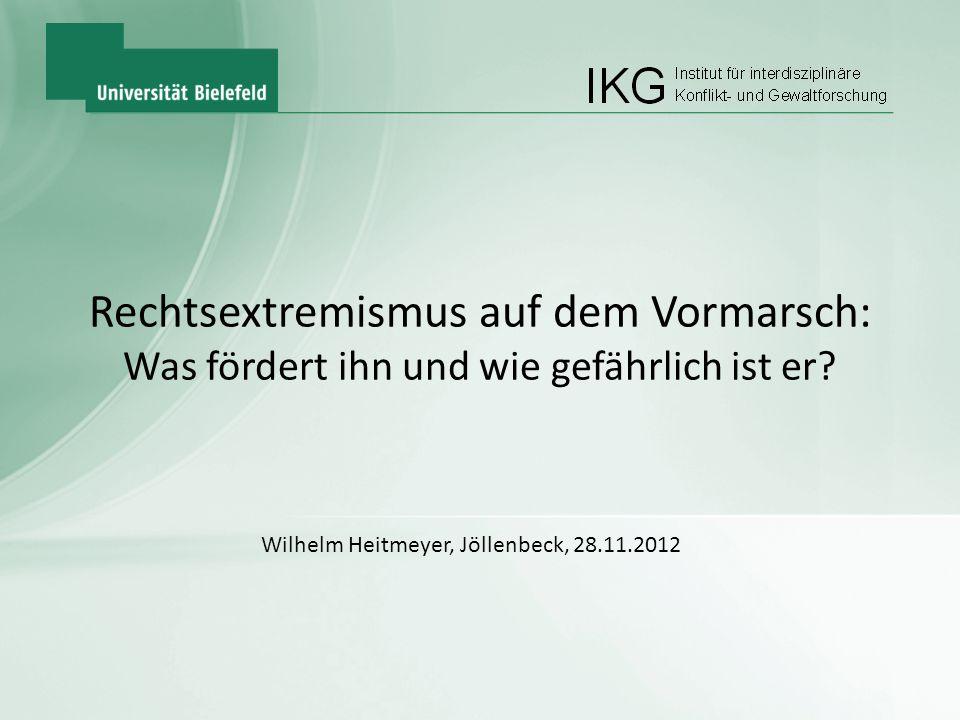 IKG Rechtsextremismus auf dem Vormarsch: Was fördert ihn und wie gefährlich ist er? Wilhelm Heitmeyer, Jöllenbeck, 28.11.2012