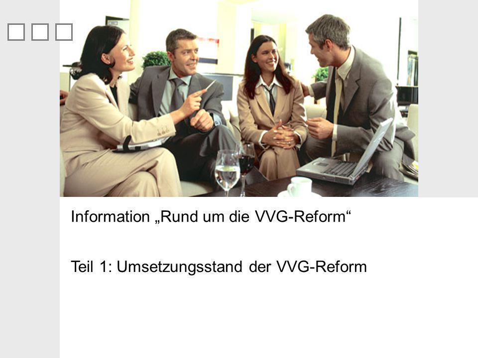 Teil 1: Umsetzungsstand der VVG-Reform Information Rund um die VVG-Reform