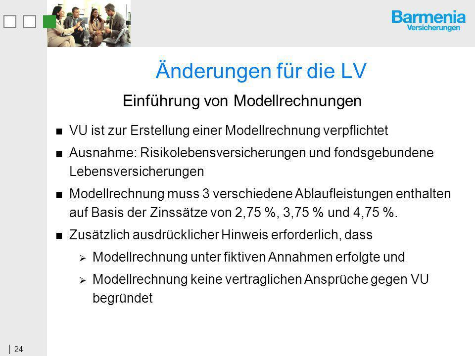 24 Änderungen für die LV VU ist zur Erstellung einer Modellrechnung verpflichtet Ausnahme: Risikolebensversicherungen und fondsgebundene Lebensversicherungen Modellrechnung muss 3 verschiedene Ablaufleistungen enthalten auf Basis der Zinssätze von 2,75 %, 3,75 % und 4,75 %.
