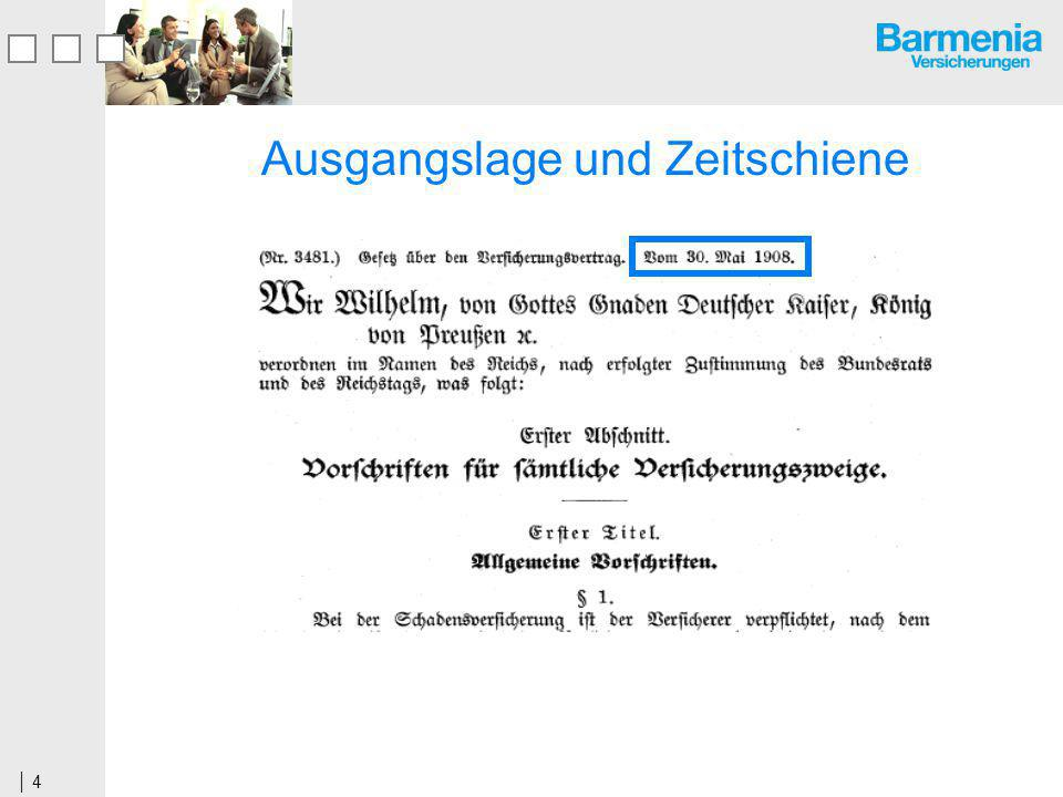 5 07.06.2000Einsatz der Kommission zur Reform des Versicherungsvertragsrechts 19.04.2004Abschlussbericht der Kommission 13.03.2006Referentenentwurf zur Reform des VVG 13.10.2006Regierungsentwurf und Gesetzgebungsverfahren 18.06.2007Entwurf einer Informationsverordnung 05.07.2007Verabschiedung des Gesetzes im Bundestag 21.09.2007Verabschiedung des Gesetzes im Bundesrat 27.11.2007Bundespräsident unterzeichnet VVG 01.01.2008Inkrafttreten des Gesetzes 01.07.2008Inkrafttreten der Informationsverordnung 31.12.2008Ende der Übergangsfrist für Altverträge