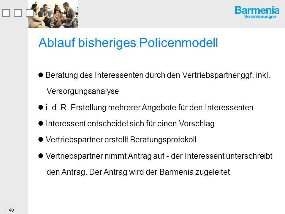 40 Ablauf bisheriges Policenmodell Beratung des Interessenten durch den Vertriebspartner ggf.
