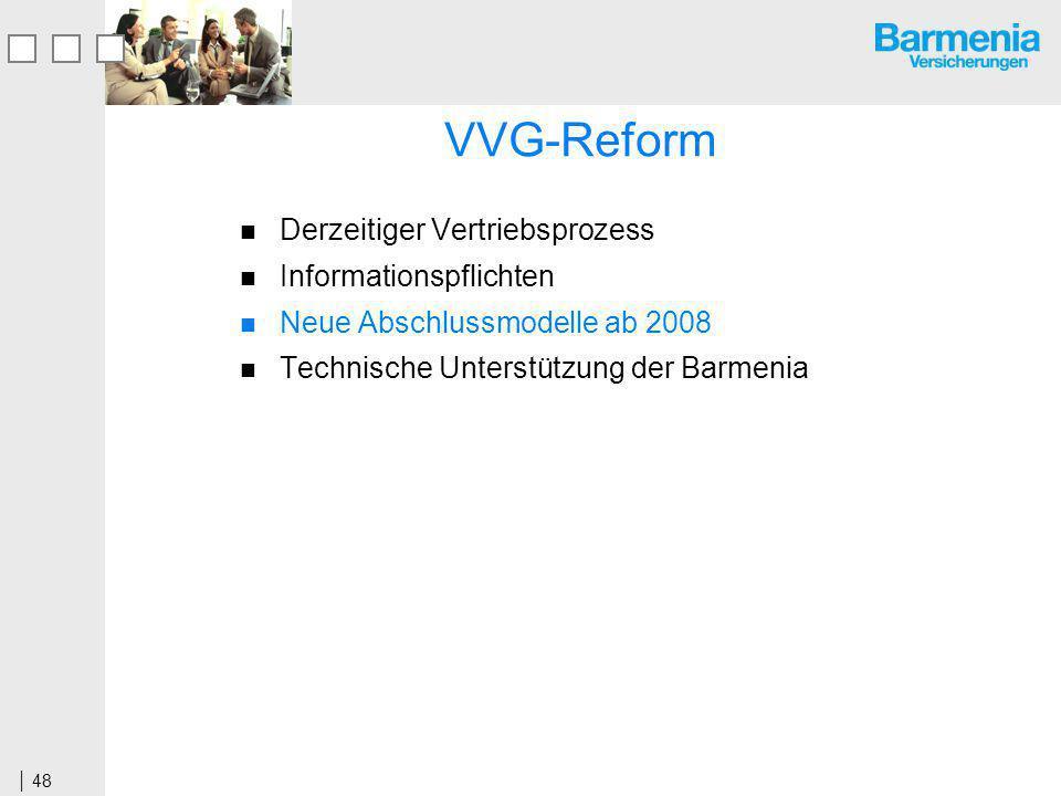 48 VVG-Reform Derzeitiger Vertriebsprozess Informationspflichten Neue Abschlussmodelle ab 2008 Technische Unterstützung der Barmenia