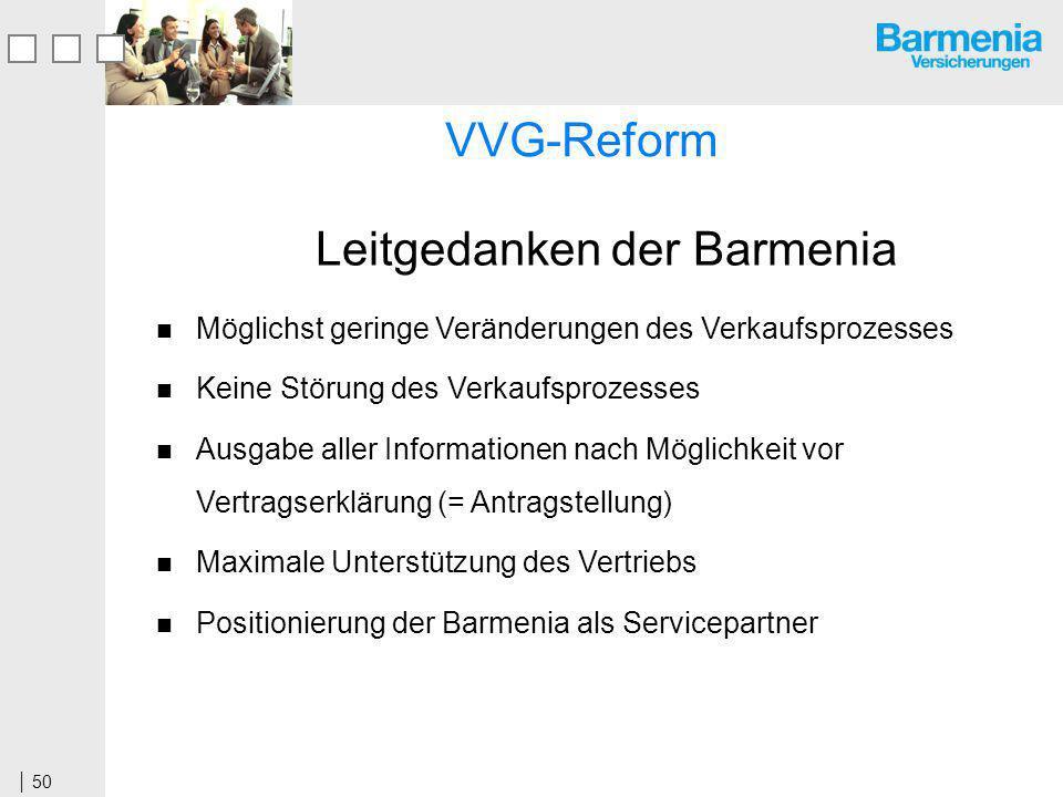 50 Leitgedanken der Barmenia Möglichst geringe Veränderungen des Verkaufsprozesses Keine Störung des Verkaufsprozesses Ausgabe aller Informationen nach Möglichkeit vor Vertragserklärung (= Antragstellung) Maximale Unterstützung des Vertriebs Positionierung der Barmenia als Servicepartner VVG-Reform