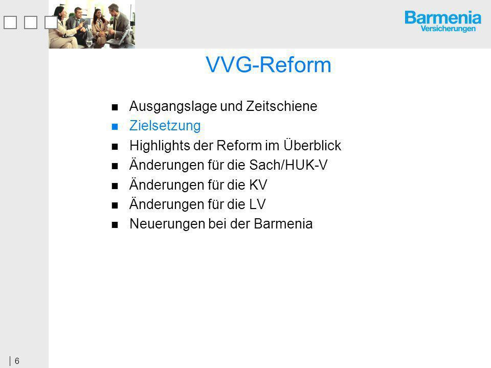 6 VVG-Reform Ausgangslage und Zeitschiene Zielsetzung Highlights der Reform im Überblick Änderungen für die Sach/HUK-V Änderungen für die KV Änderungen für die LV Neuerungen bei der Barmenia