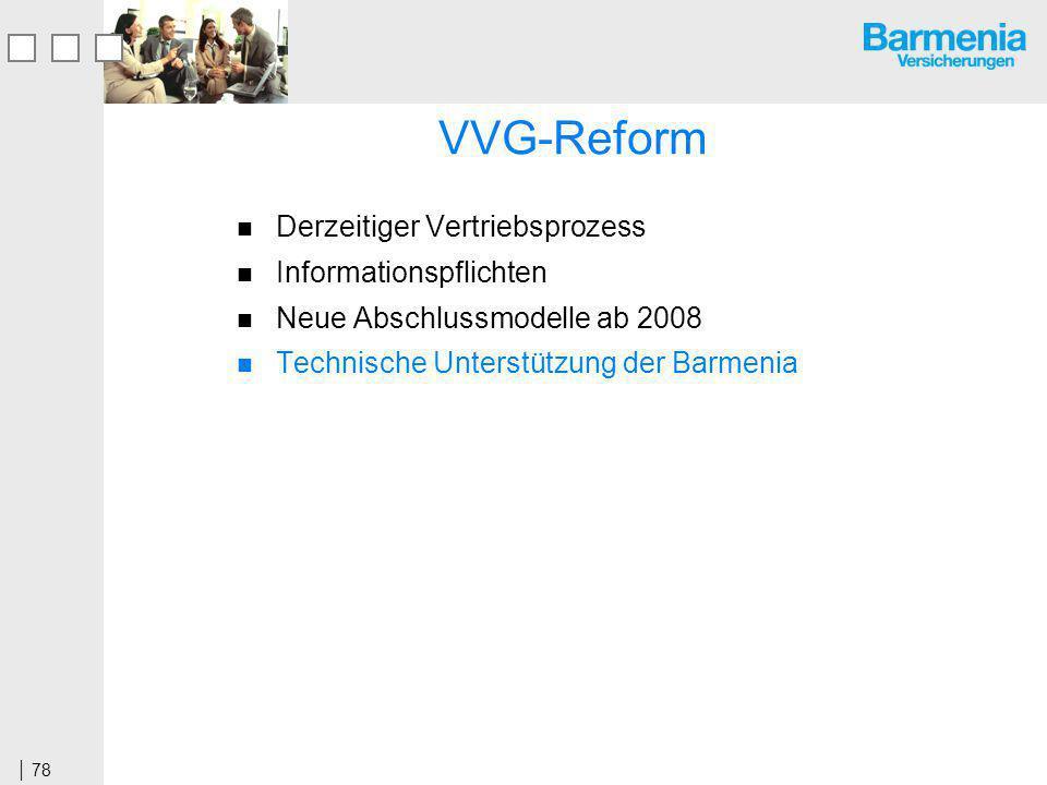 78 VVG-Reform Derzeitiger Vertriebsprozess Informationspflichten Neue Abschlussmodelle ab 2008 Technische Unterstützung der Barmenia