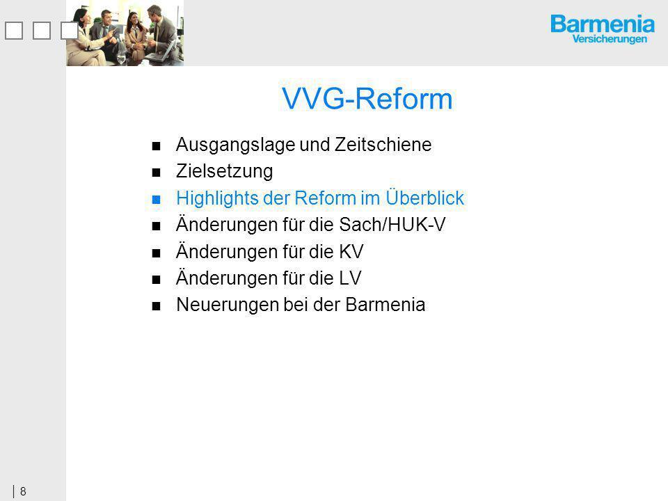 8 VVG-Reform Ausgangslage und Zeitschiene Zielsetzung Highlights der Reform im Überblick Änderungen für die Sach/HUK-V Änderungen für die KV Änderungen für die LV Neuerungen bei der Barmenia