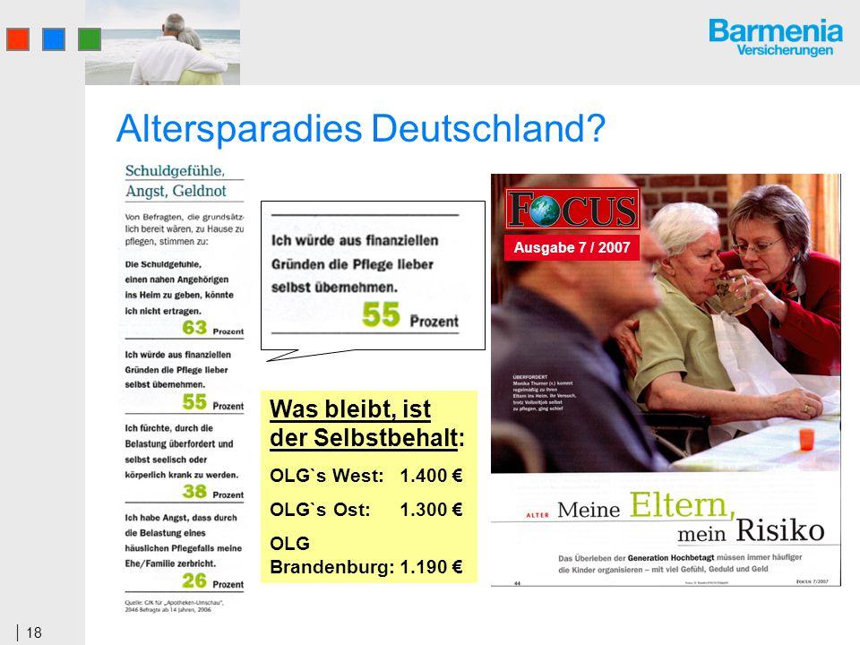 18 Altersparadies Deutschland? Ausgabe 7 / 2007 Was bleibt, ist der Selbstbehalt: OLG`s West: 1.400 OLG`s Ost:1.300 OLG Brandenburg:1.190