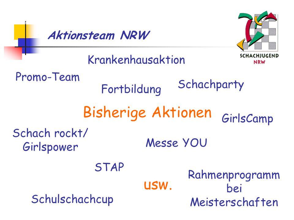 Aktionsteam NRW Bisherige Aktionen Krankenhausaktion Messe YOU Schachparty STAP Rahmenprogramm bei Meisterschaften Schach rockt/ Girlspower Schulschachcup GirlsCamp Fortbildung usw.