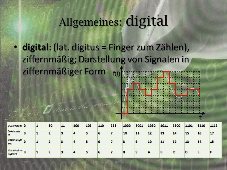 digital: (lat. digitus = Finger zum Zählen), ziffernmäßig; Darstellung von Signalen in ziffernmäßiger Form digital: (lat. digitus = Finger zum Zählen)