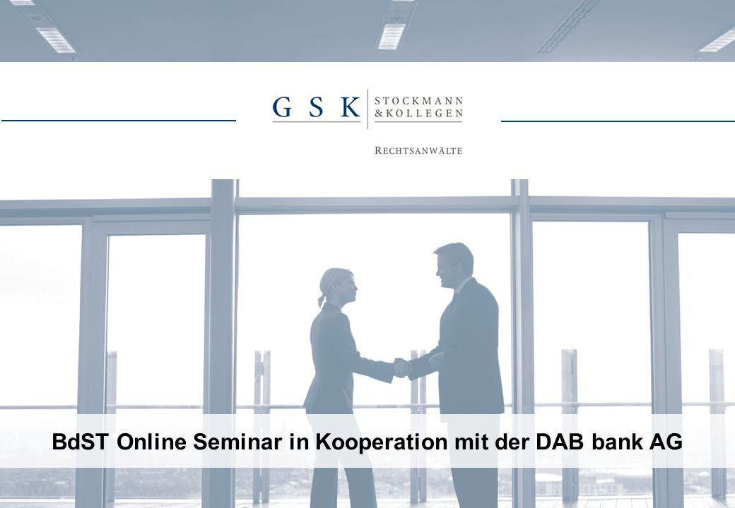 BdST Online Seminar in Kooperation mit der DAB bank AG