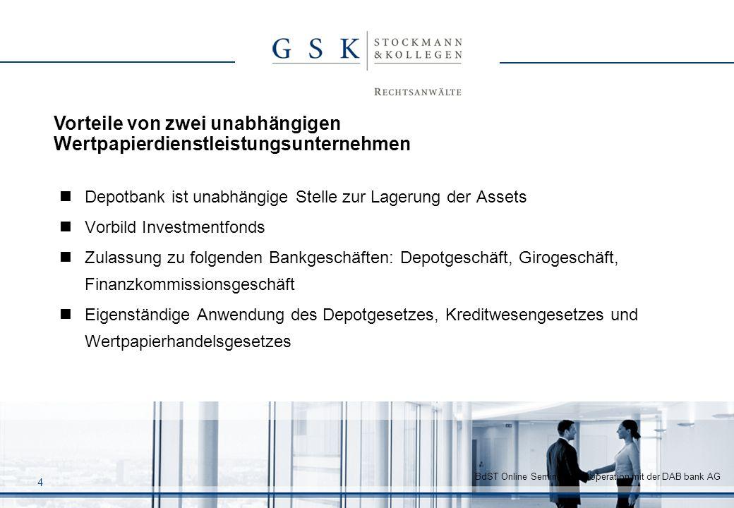 BdST Online Seminar in Kooperation mit der DAB bank AG 4 Depotbank ist unabhängige Stelle zur Lagerung der Assets Vorbild Investmentfonds Zulassung zu