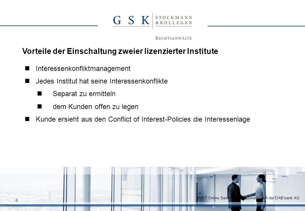 BdST Online Seminar in Kooperation mit der DAB bank AG 6 Interessenkonfliktmanagement Jedes Institut hat seine Interessenkonflikte Separat zu ermittel
