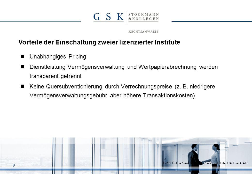 BdST Online Seminar in Kooperation mit der DAB bank AG 8 Unabhängiges Pricing Dienstleistung Vermögensverwaltung und Wertpapierabrechnung werden trans